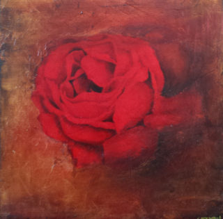 An Oil painting by Christopher McClelland in the Semi-Abstract style  depicting  Flowers and Outback and titled Burnt Earth and Rose #3
