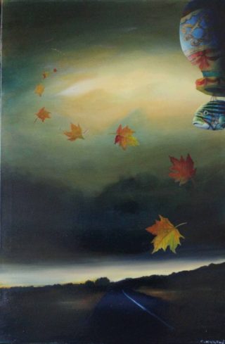 An Oil painting by Christopher McClelland in the Surrealist style  depicting  Bush Fantasy and Fish and titled Montgolfier Brothers over the Great Eastern Highway