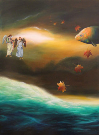 An Oil painting by Christopher McClelland depicting  Fantasy Fish and Man and titled Peregino's Angels over the Indian Ocean