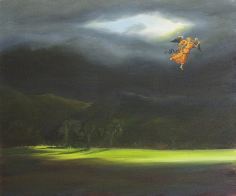 Oil Painting by Christopher McClelland titled Perugino's Angel over a Southwest landscape