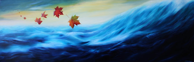 Oil Painting by Christopher McClelland titled Autumn Leaves over the Indain Ocean