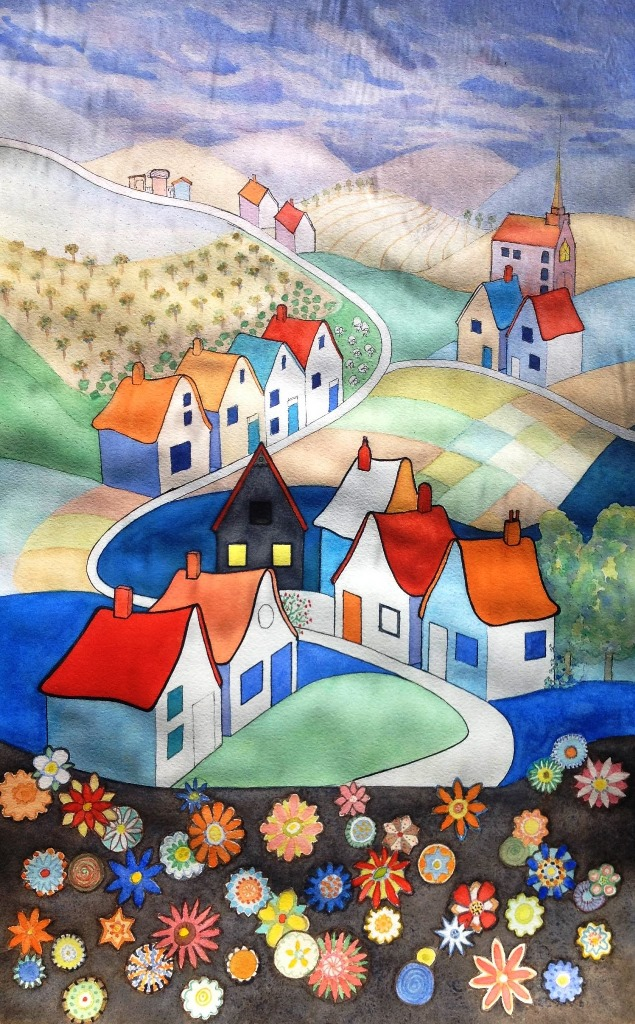 Watercolour Painting by Glenys Gaston titled Village Patterns