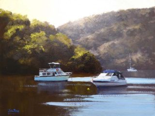 An Oil painting by John Rice in the Realist Impressionist style  depicting Boats and River with main colour being Blue Green and Grey and titled Boats On The Hawkesbury