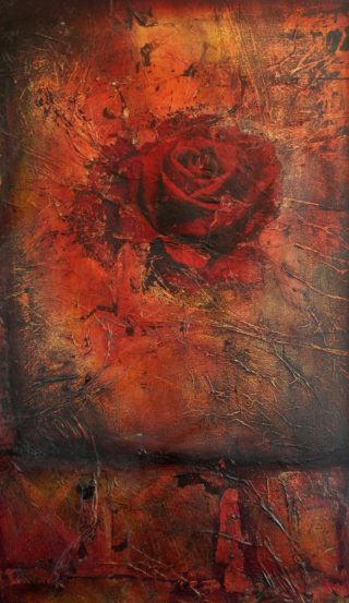 An Oil painting by Christopher McClelland depicting Flowers with main colour being Gold and Red and titled Burnt Earth & Rose No. 1