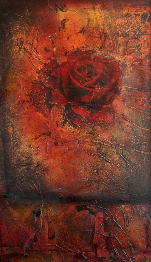 Oil Painting by Christopher McClelland titled Burnt Earth & Rose No. 1