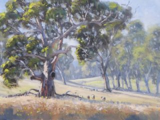 An Oil painting by John Rice in the Realist Impressionist style  depicting Landscape Farmland Rural and Trees with main colour being Blue Grey and Ochre and titled Crudine Country