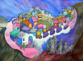 A Watercolour painting by Glenys Gaston Buildings and Mountains and titled Mountain Community