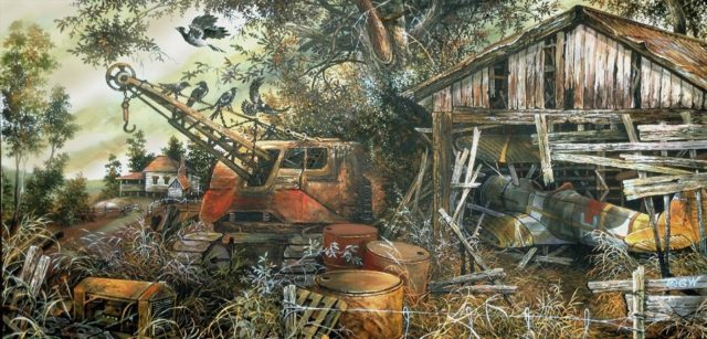 Painting by Gary Woodfield titled Where Old Things Rust