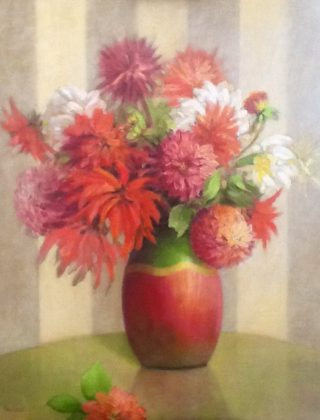 An Oil painting by Helen Paulucci in the Realist Impressionist style  depicting Flowers and Vases with main colour being Green Grey and Orange and titled Chrysanthemums in red vase