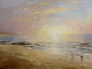 A  painting by Helen Paulucci in the Realist Impressionist style  depicting Beach and Waves with main colour being Blue Grey and Pink and titled Beach Scene