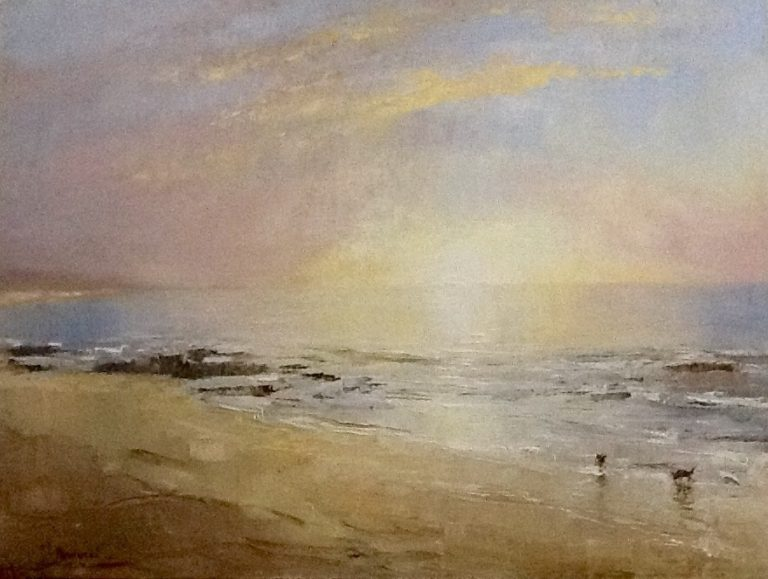Painting by Helen Paulucci titled Beach Scene