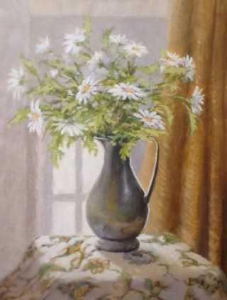 An Acrylic painting by Helen Paulucci in the Realist Impressionist style  depicting Flowers Jugs and Vases with main colour being Brown Gold and Green and titled White Daisies in a Pewter Jug