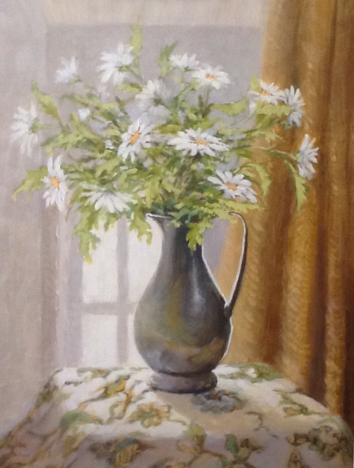 Painting by Helen Paulucci titled White Daisies in a Pewter Jug