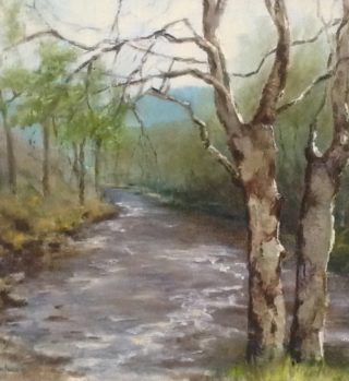 An Oil painting by Helen Paulucci in the Realist Impressionist style  depicting Landscape River Rural and Trees with main colour being Blue Brown and Grey and titled Scottish landscape