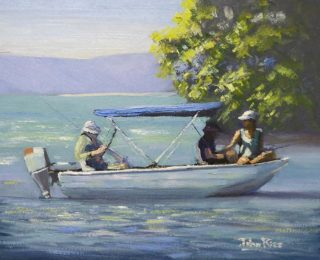 An Oil painting by John Rice in the Realist Impressionist style  depicting People Boats Girl and Lake with main colour being Blue and Green and titled Saturday Morning Well Spent