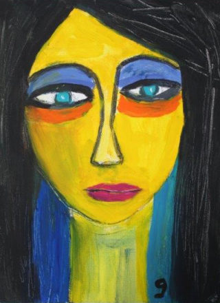 An Acrylic painting by Gail Edmonds in the Abstract Expressionist style  depicting  Woman and titled Colour Lady