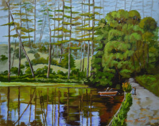 An Acrylic painting by Murray McLeod in the Contemporary Realist style  depicting Landscape Lake Trees and Water with main colour being Blue Cream and Green and titled Quiet flows the loch