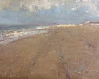 An Oil painting by Helen Paulucci in the Realist Impressionist style  depicting Beach and Sea with main colour being Brown Grey and Ochre and titled Dutch Beach Scene 1