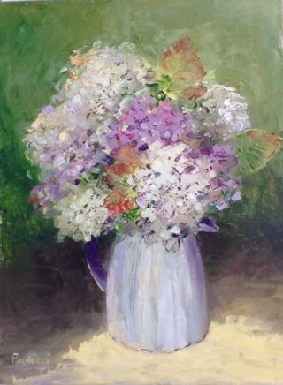 An Oil painting by Helen Paulucci in the Impressionist style  depicting Flowers and Jugs with main colour being Blue Green and Olive and titled Hydrangeas in cream jug