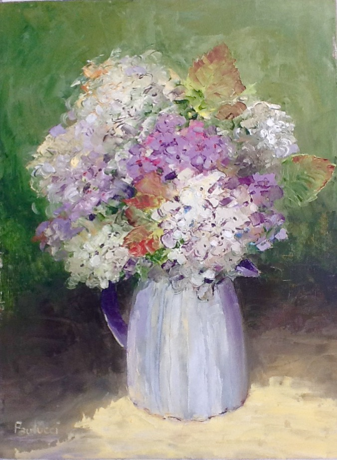 Painting by Helen Paulucci titled Hydrangeas in cream jug