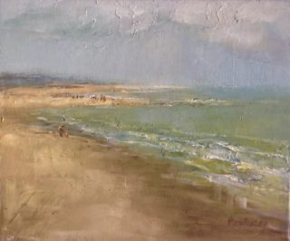 An Oil painting by Helen Paulucci in the Realist Impressionist style  depicting Beach and Sea with main colour being Blue Green and Ochre and titled Dutch beach scene 2