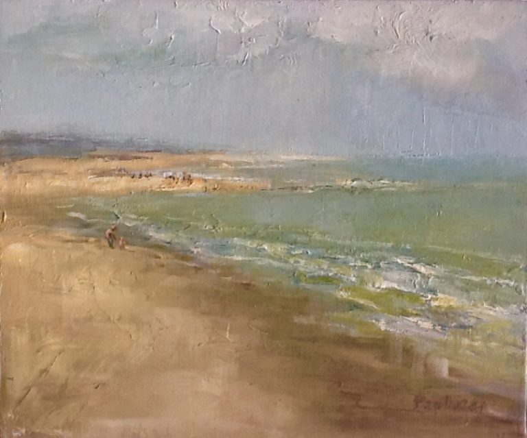 Painting by Helen Paulucci titled Dutch beach scene 2