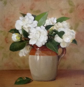 An Oil painting by Helen Paulucci in the Realist Impressionist style  Flowers and Jugs with main colour being Brown Gold and Green and titled White camellias in Pearson jug