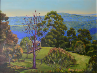 An Oil painting by Murray McLeod in the Realist Impressionist style  depicting Landscape Bush Farmland and Outback with main colour being Blue Green and Orange and titled Killarney2