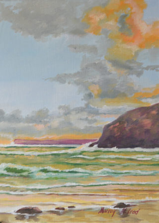 An Oil painting by Murray McLeod in the Impressionist style  depicting Seascape Beach Rocks and Water with main colour being Blue Gold and Green and titled Forrester's Beach sunset