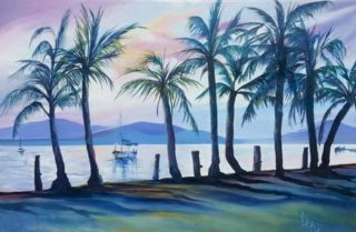 An Oil painting by Lesley Rosochodski in the Contemporary Realist style  depicting Landscape Beach River and Sunset with main colour being Blue Gold and Orange and titled Sunset at Port Douglas