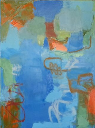 An Oil painting by Dawn Lim in the Abstract Expressionist style  depicting  with main colour being Brown Grey and Pink and titled Blue composition