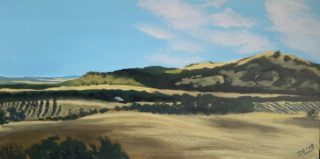 An Acrylic painting by Dawn Lim in the Impressionist style  depicting Landscape Farmland Hills and Mountains with main colour being Blue Brown and Yellow and titled Moonambel Gap
