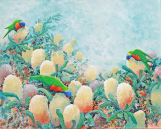An Acrylic painting by Maxine Collins in the Realist Impressionist style  depicting Animals and Flowers with main colour being Blue Cream and Green and titled A Banksia Breakfast