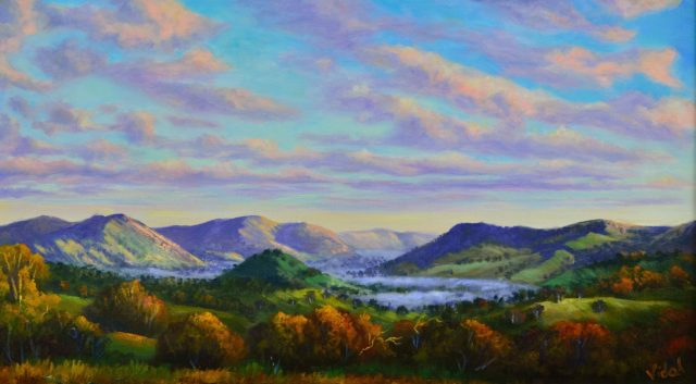 Acrylic Painting by Christopher Vidal titled Early Morning Mist At Reids Flat, NSW