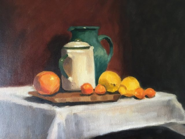 Oil Painting by Kathryn Morgana-Aprile titled Still Life with Kumquats & Lemons