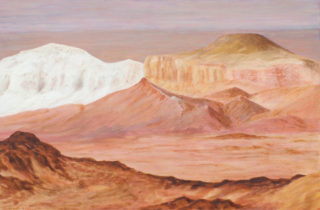 An Oil painting by Alex Mortensen in the Realist style  depicting Desert with main colour being Brown Pink and White and titled MAGIC OF THE BREAKAWAYS SOUTH AUSTRALIA 2014-16
