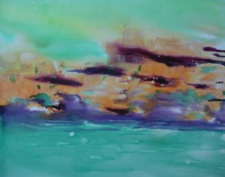A Mixed Media painting by Mary Cottam in the Semi Abstract Expressionist style  depicting Landscape Water and Waves with main colour being Blue Green and Ochre and titled Sea Dream