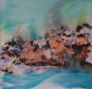 A Mixed Media artwork by Mary Cottam in the Semi-Abstract style  depicting Landscape Rocks Water and Waves with main colour being Blue Green and Orange and titled Sea and Rocks