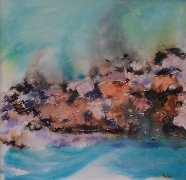Mixed Media Painting by Mary Cottam titled Sea and Rocks