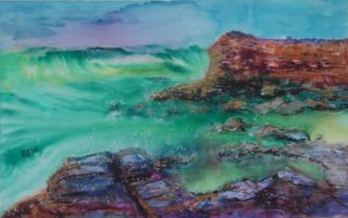 A Mixed Media painting by Mary Cottam in the Semi-Abstract Impressionist style  depicting Landscape Rocks Water and Waves with main colour being Blue Brown and Green and titled Terrigal Shore Line