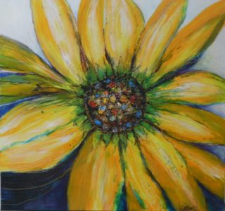 A Mixed Media painting by Mary Cottam in the Contemporary style  Flowers with main colour being Brown Green and Grey and titled Yellow Flower