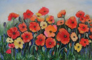 An Acrylic painting by Mary Cottam in the Contemporary Realist style  depicting Flowers with main colour being Blue Green and Red and titled Poppies