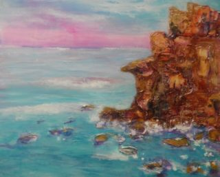 A Mixed Media painting by Mary Cottam in the Semi-Abstract Impressionist style  depicting Landscape Beach Rocks and Water with main colour being Blue Brown and Pink and titled Sunset over the Sea