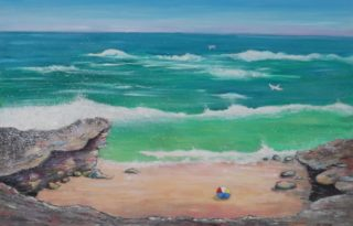 A Mixed Media painting by Mary Cottam in the Impressionist style  depicting Beach Rocks and Water with main colour being Blue Green and Ochre and titled Rocky Shoreline