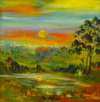 An Oil painting by Margaret Morgan-Watkins in the Impressionist style  depicting Landscape Rural and Sunset with main colour being Blue Green and Olive and titled Sunset