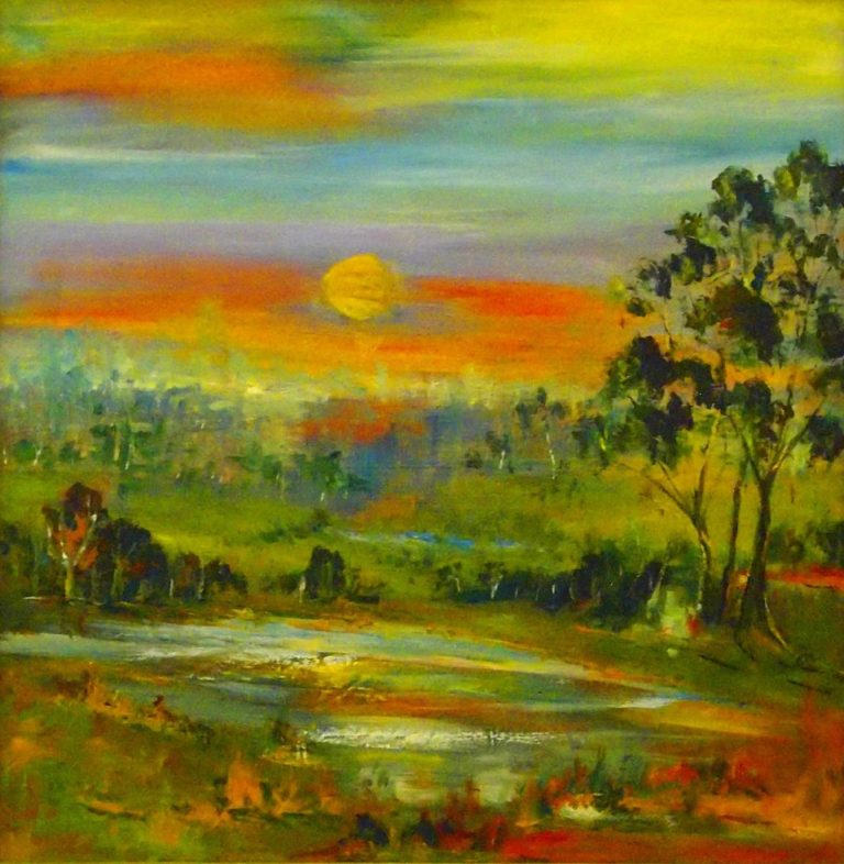 Watercolour Painting by Margaret Morgan-Watkins titled Sunset