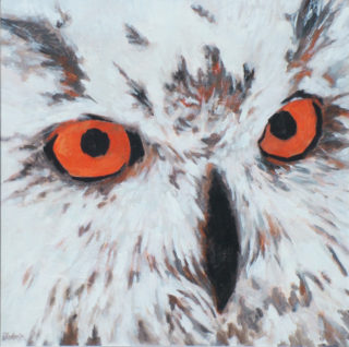 An Acrylic painting by Ekaterina Mortensen in the Realist style  depicting Animals with main colour being Brown Grey and Red and titled OWLISH EYES