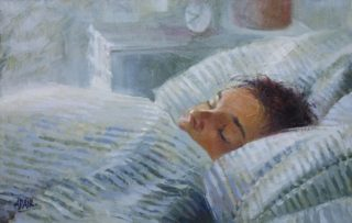 An Oil painting by Pauline Adair in the Realist Impressionist style  depicting Woman Boy Children and Night with main colour being Blue and Grey and titled Son in the Morning