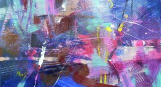 An Acrylic painting by Penelope Gilbert-Ng in the Abstract style  Music with main colour being Blue Pink and Purple and titled Music
