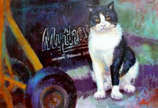 An Acrylic painting by Penelope Gilbert-Ng in the Realist style  depicting Animals Cats with main colour being Black Brown and Grey and titled Mythsterious Cat